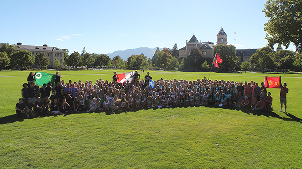 Members of the FSL community on the Quad at Utah State University.