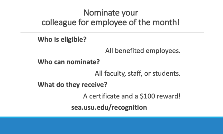 Nominate your colleague for employee of the month! Who is eligible? All benefited employees. Who can nominate? All faculty, staff, or students. What do they receive? A certificate and a $100 reward!Eri Suzuki Bentley was recognized for June 2018. Her nominator said she is a great example of someone who embodies the values that we are promoting in this committee--social responsibility, and improving the community on campus.