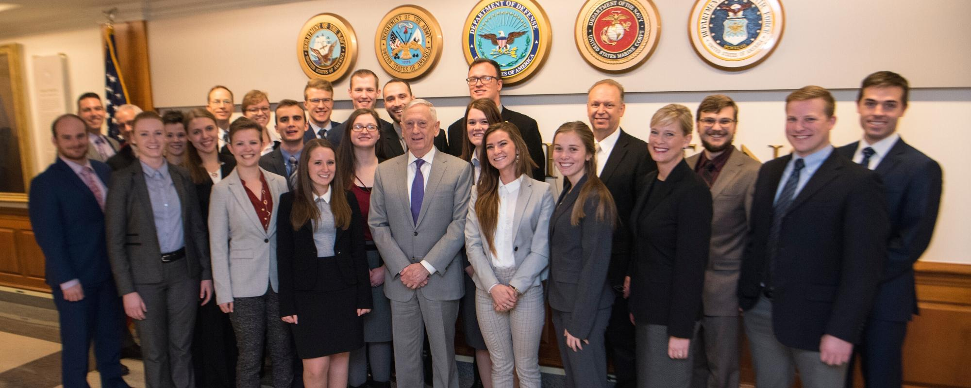 CAI students meet with former Secretary of Defense Jim Mattis in the Pentagon.