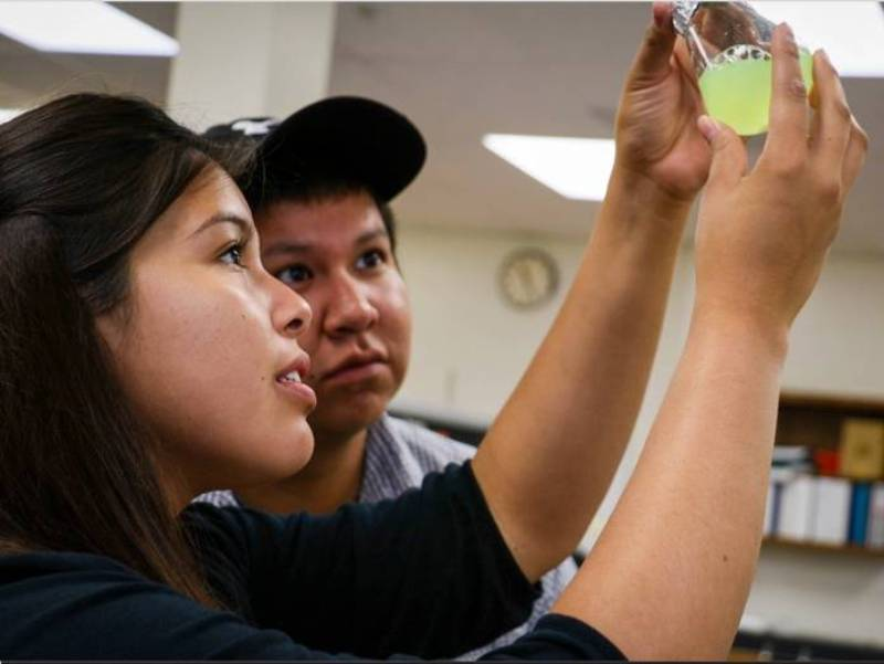 Native students working in a lab