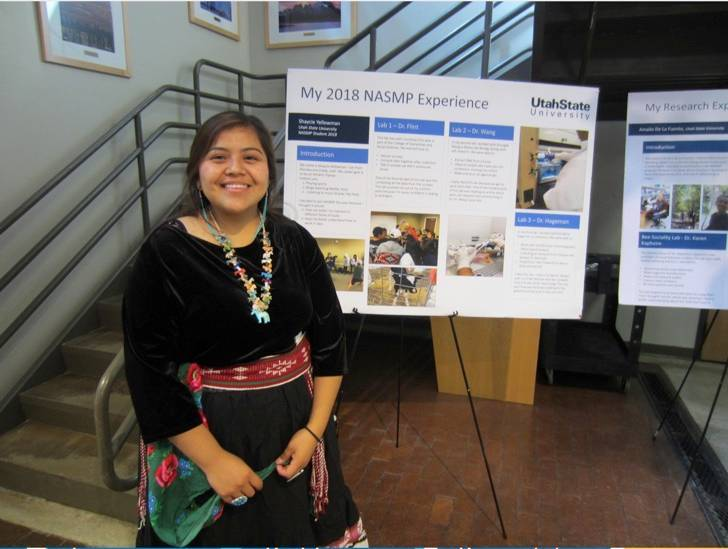 Native student presenting her poster.