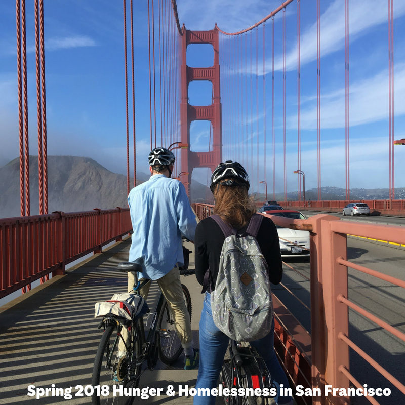 students with bikes on golden gate bridge