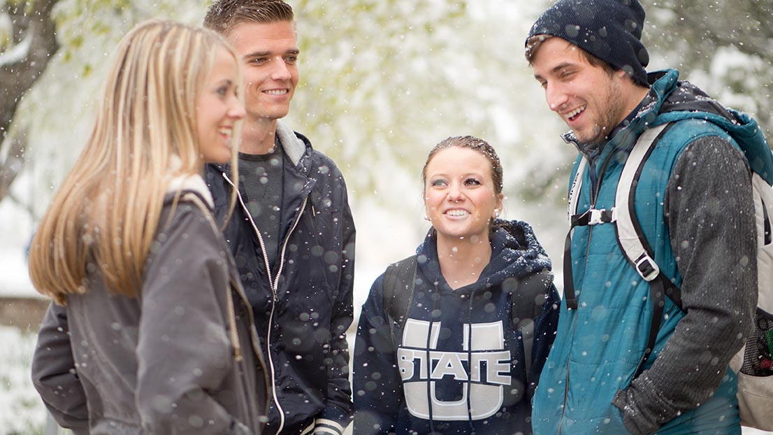 USU Students in the snow