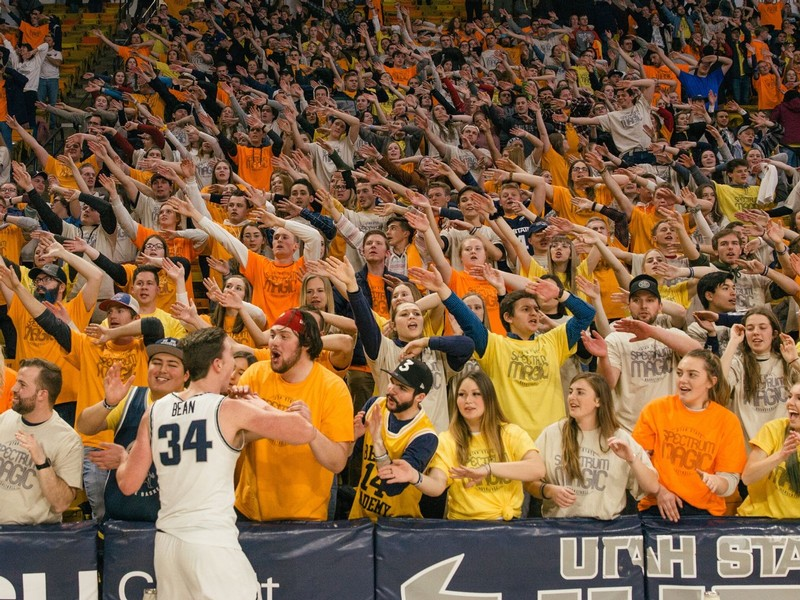 USU students cheer in unison against UNLV on Thursday.
