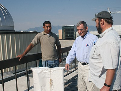 USU physicists inspect antennas