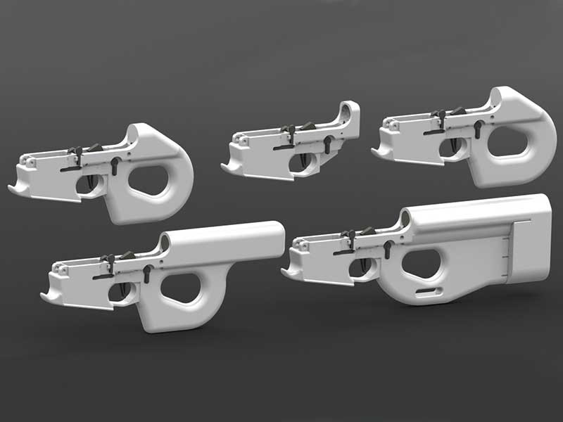3D-printed AR-15 rifle lower receivers