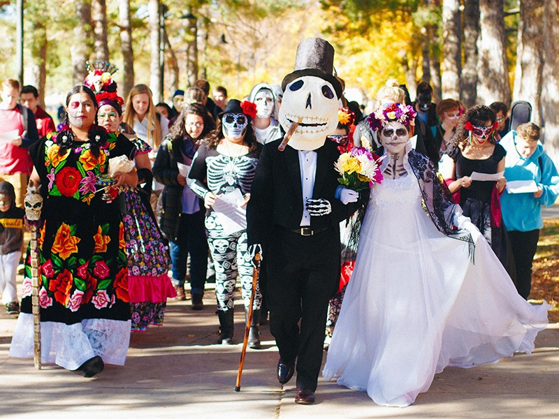 A tuxedoed Crescencio Lopez leads the 2016 Day of the Dead procession