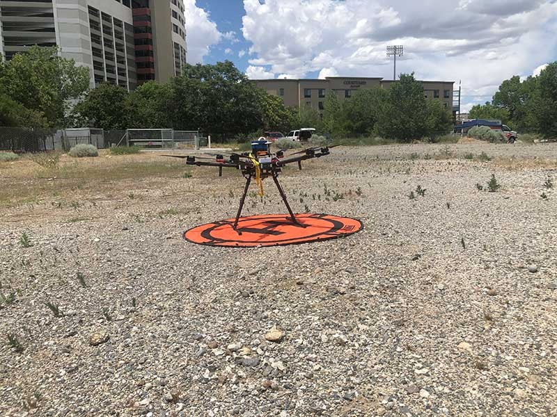 a drone on the ground.