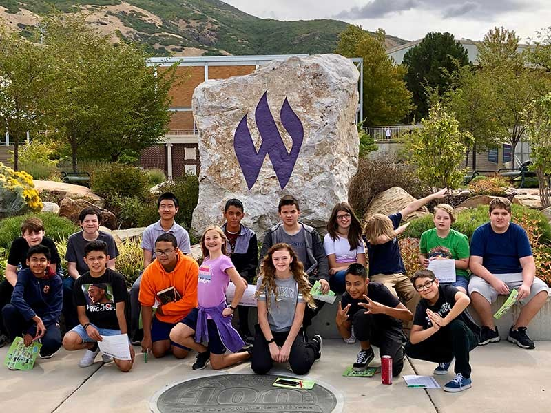 Logan Middle School students visiting Weber State University.