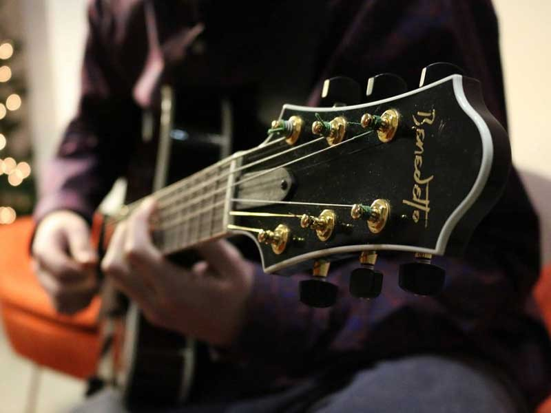 closeup of guitar