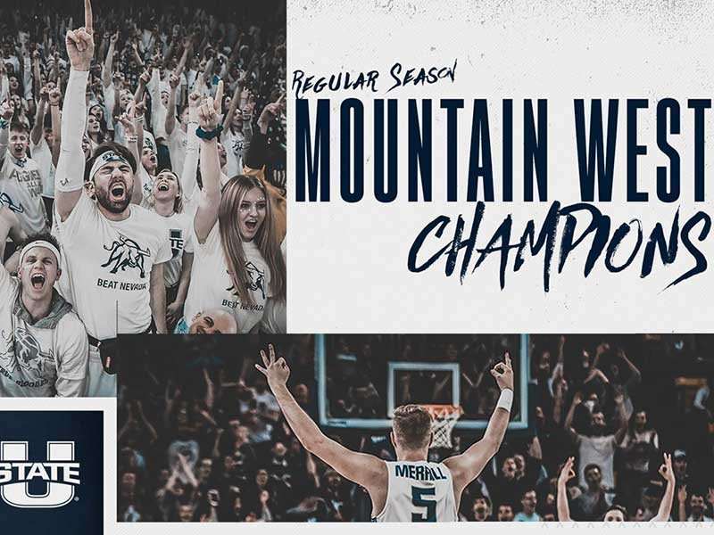 Mountain West graphic with cheering student fans