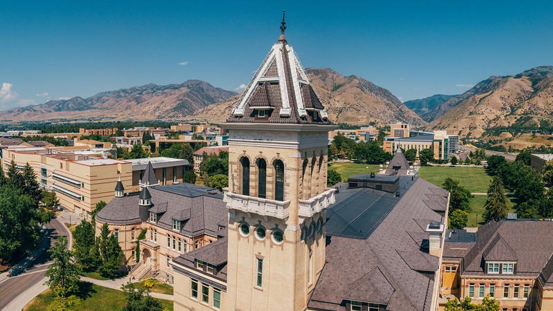 Old Main with USU campus in the back ground.