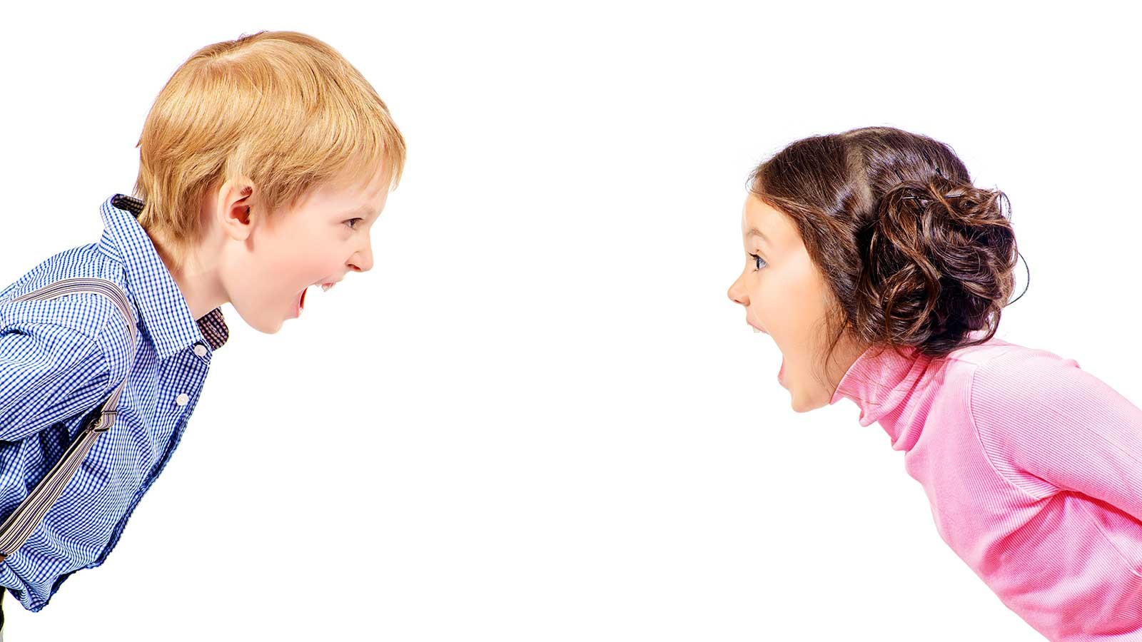 a young girl and boy yelling at each other.