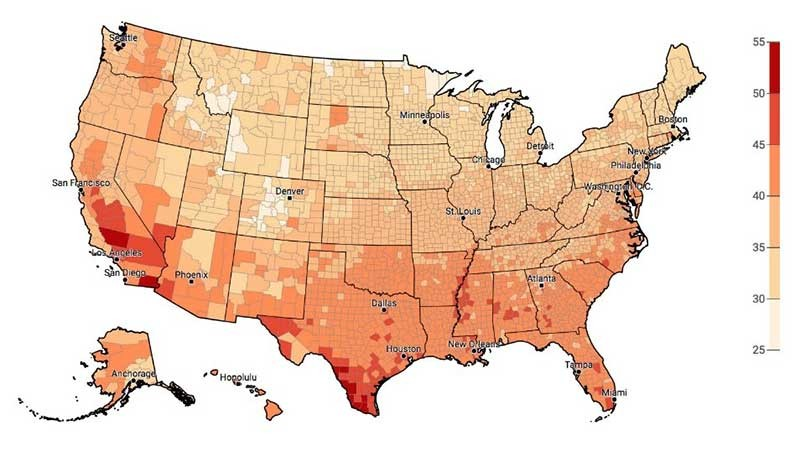heatwave map of the United States