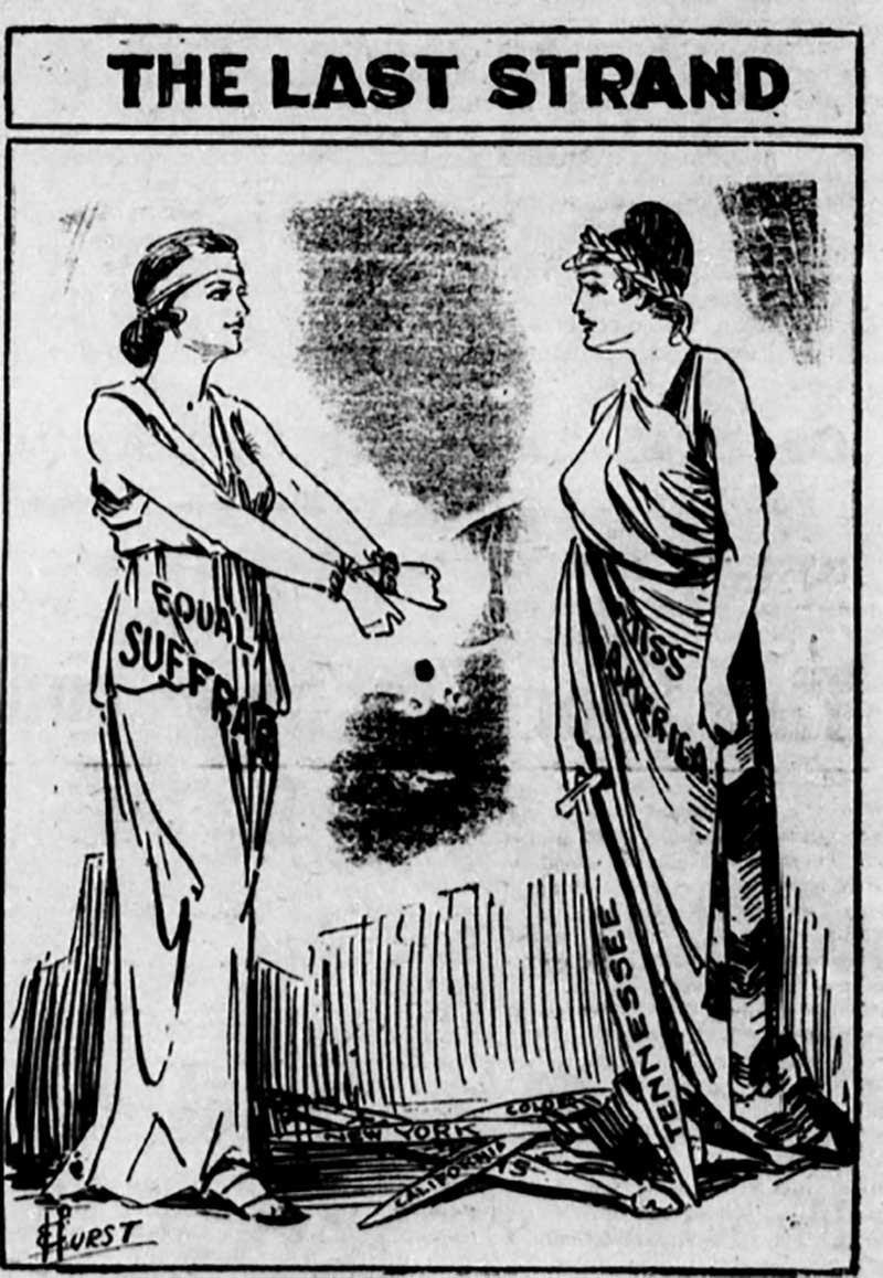 A political cartoon from 1919 about Equal Suffrage
