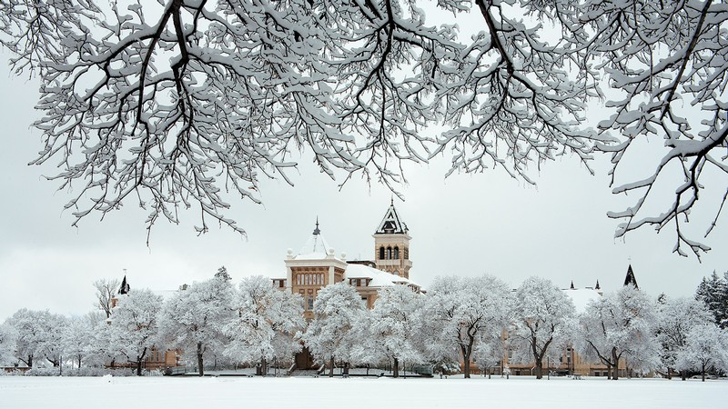 old main in winter.