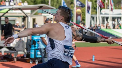 Sindri Gudmundsson throwing a javelin.