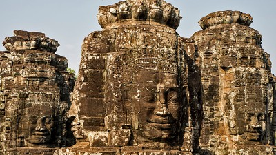 Bayon Temple, a richly decorated Khmer temple at Angkor in Cambodia.