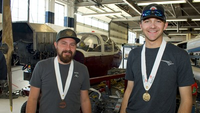 Aviation maintenance students Treston Cullimore (right) and Braxton Thacker.