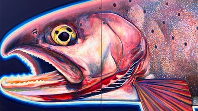 A painting of native Bonneville Cutthroat Trout by Utah artist Chris Peterson.
