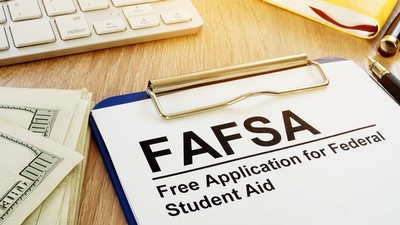 FAFSA application on a table.