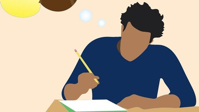 illustration of a person writing on a piece of paper.