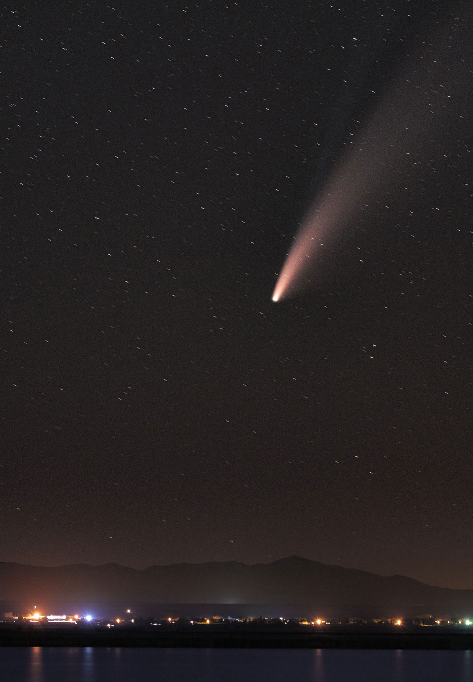 zoomed in NEOWISE comet.