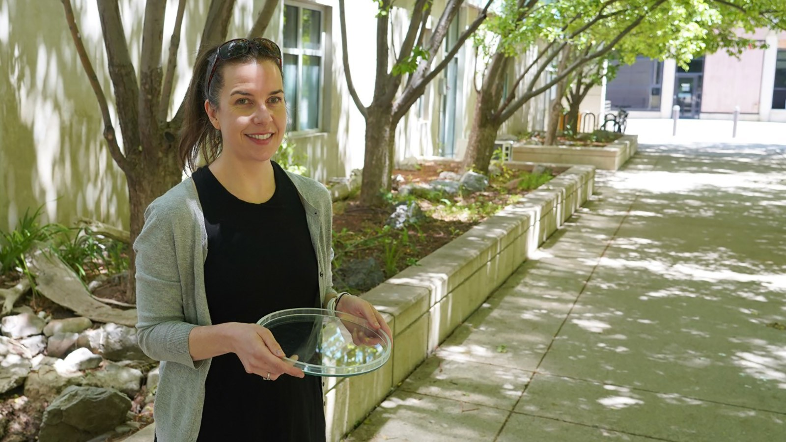 USU Assistant Professor Janice Brahney holds a bowl of microplastic particles.
