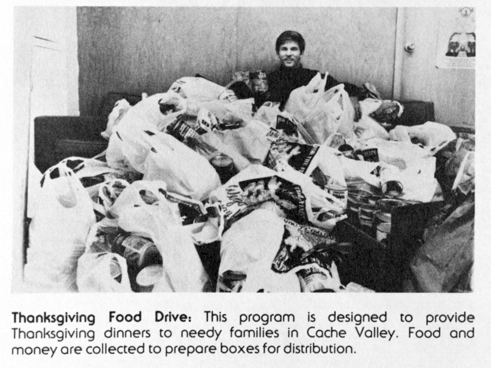 Historical image of the Thanksgiving Food Drive.