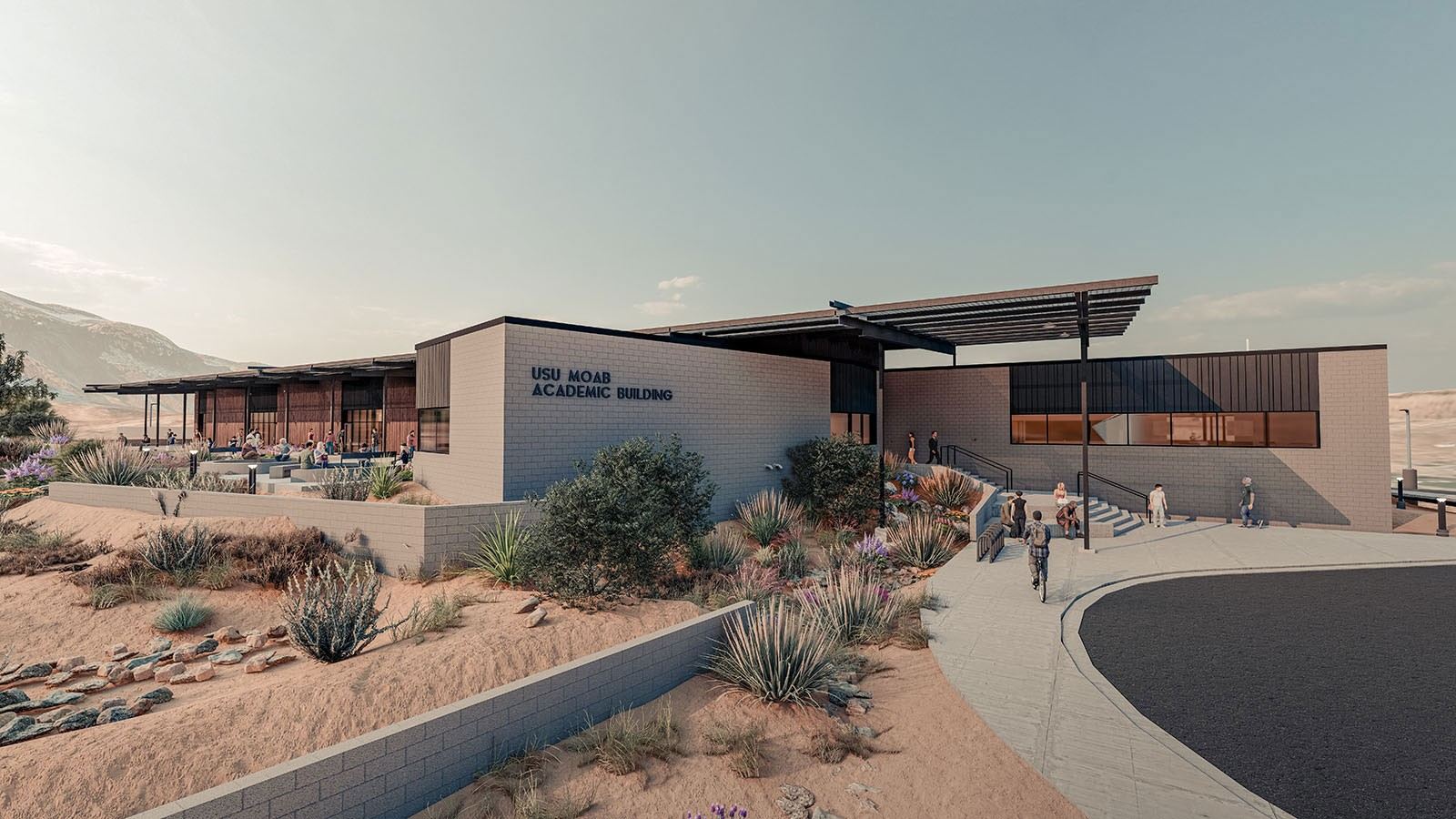 Rendering of USU Moab signage and building.
