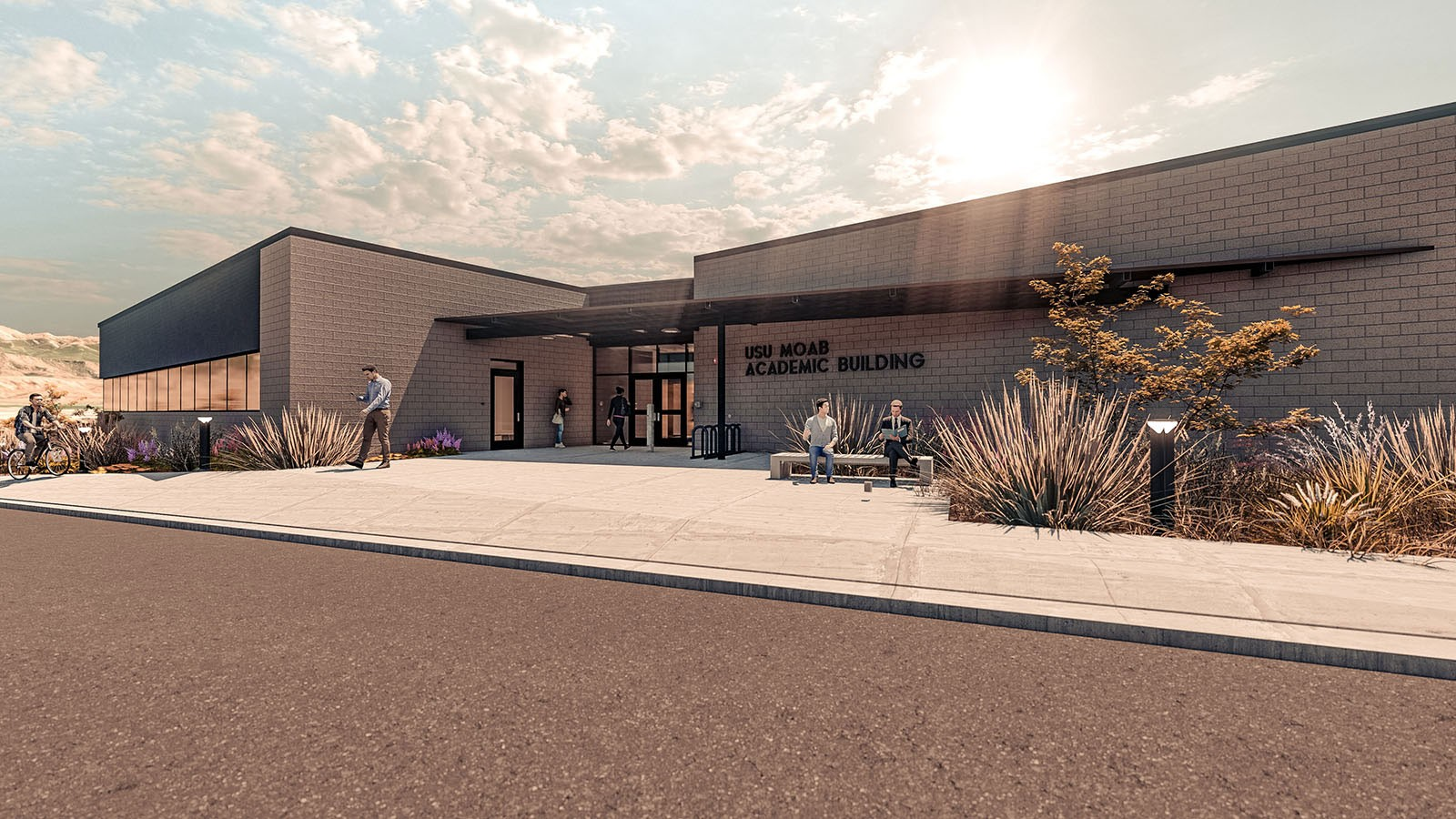 Rendering of USU Moab campus north entrance.