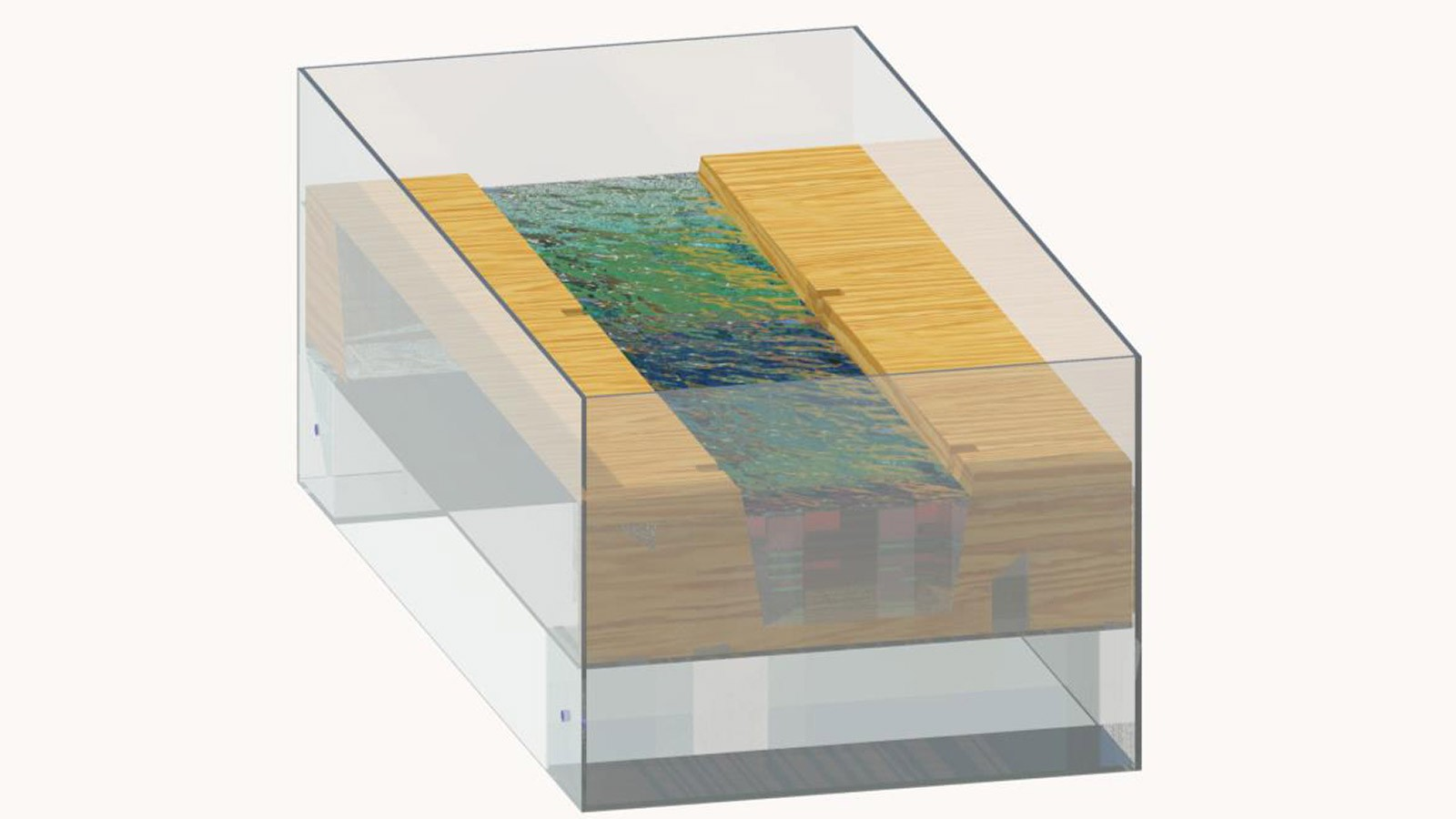 A rendering of the model design with water.