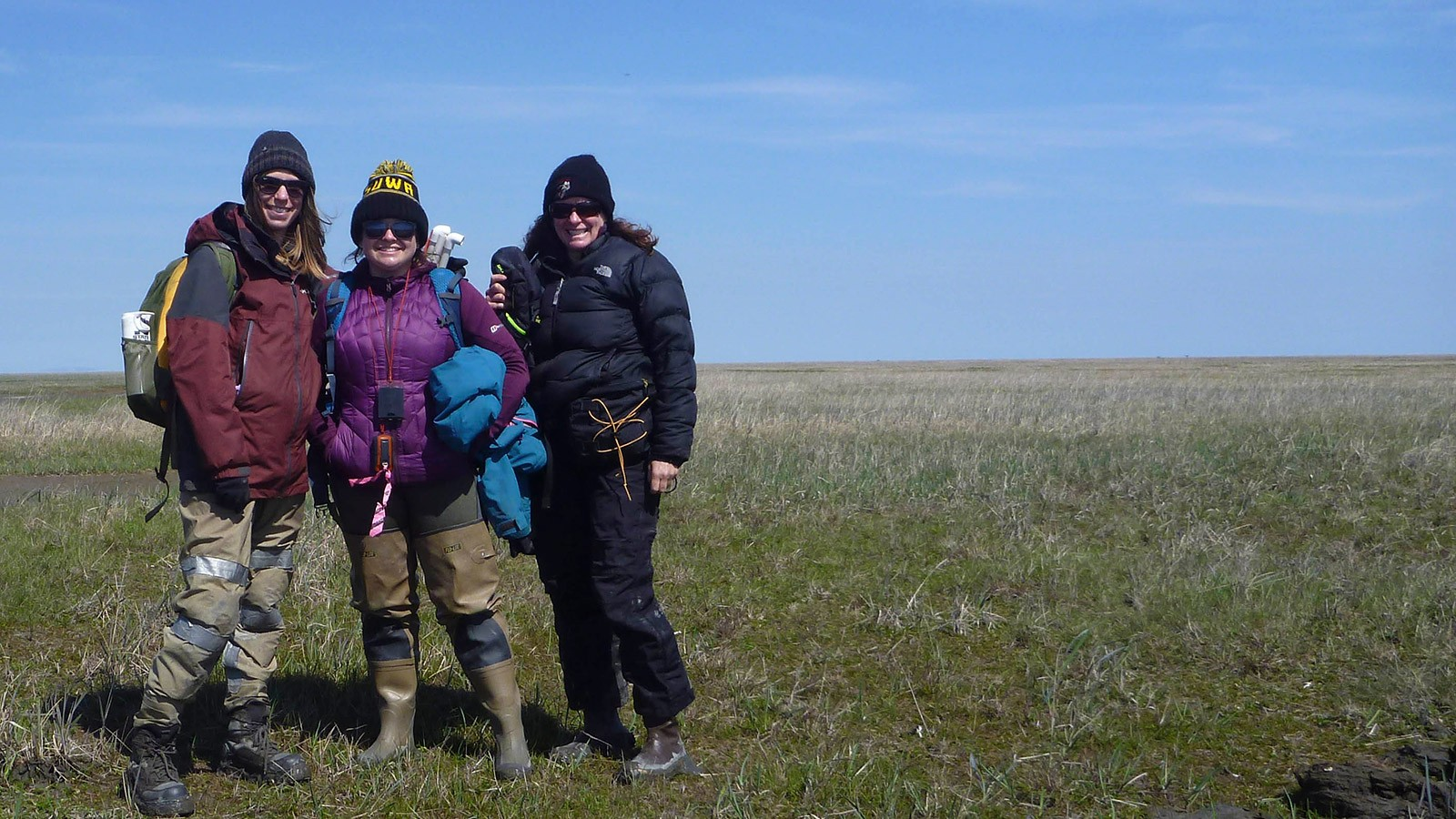 Bonnie Waring, master's student Karen Foley, and researcher Karen Beard in the Yukon.