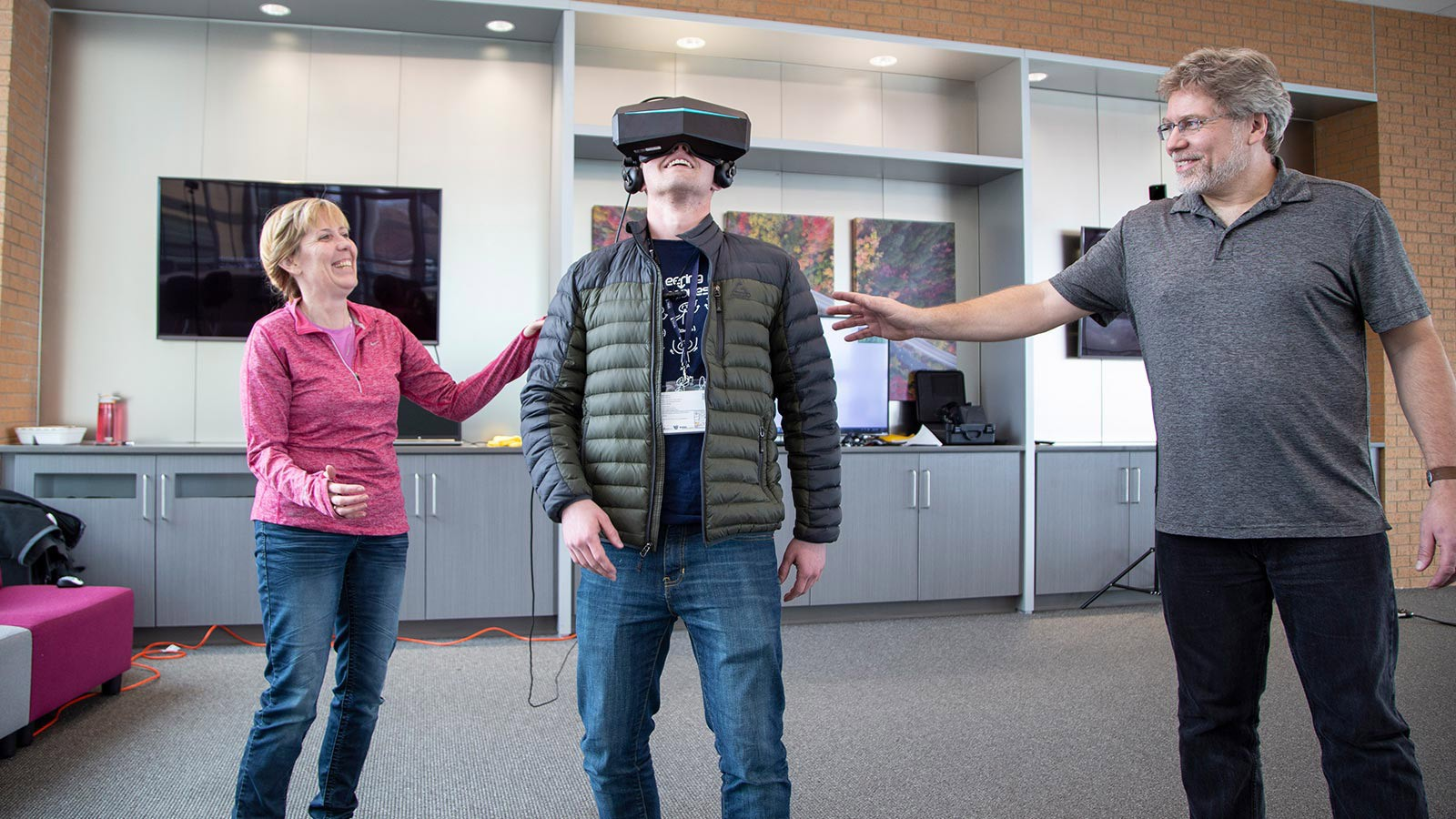 a student wearing a virtual headset.
