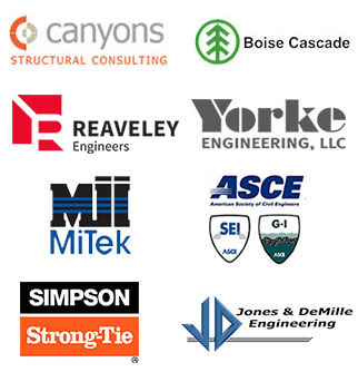 Gold Sponsers for the Utah Ground Snow Load, which are: Canyons Structural Consulting, Boise Cascade, Reaveley Engineers and Associates, Yorke Engineering, MJI MiTek, ASCE, Simpson Stron-Tie, Jones and DeMille Engineering.