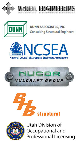Platinum Sponsors for the Utah Ground Snow Load, which are: McNeil Engineering, Dunn Associates INC, National Council of Structural Engineers Associations, Nucor Volcraft Group, BHB Structural, and Utah Division of Ocuupational and Professional Licensing.