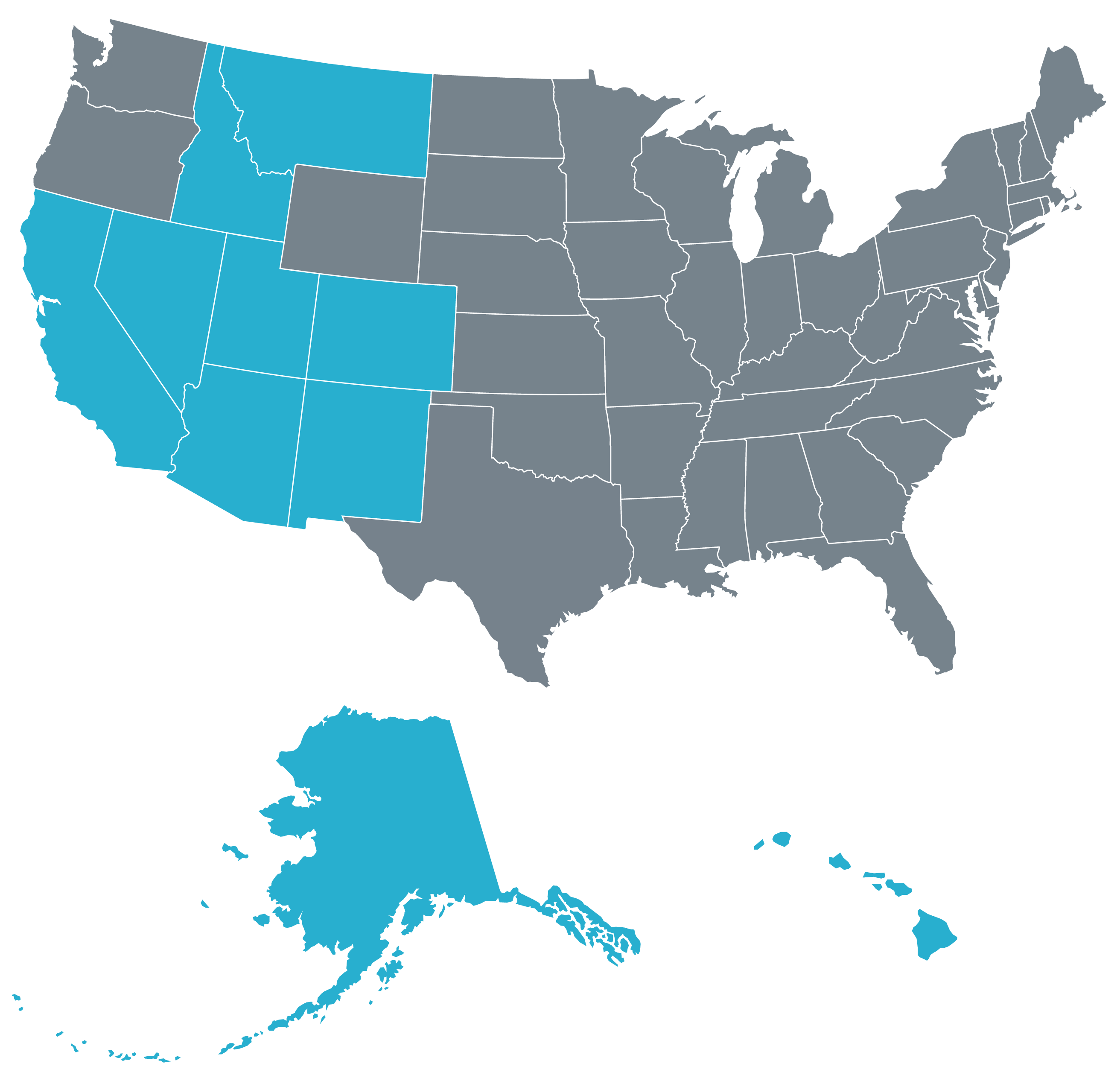 ASAP map of the United States